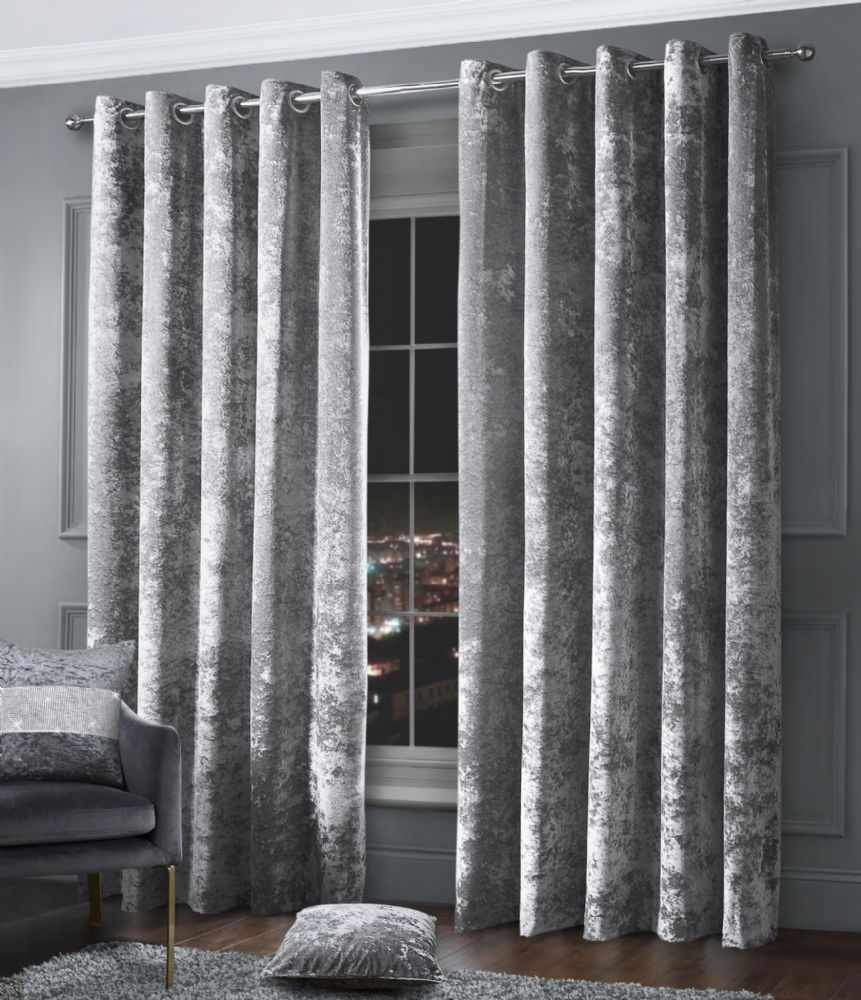 Stylish Crushed Velvet Modern Textured Ringtop Eyelet Pair Of Curtains Silver Colour